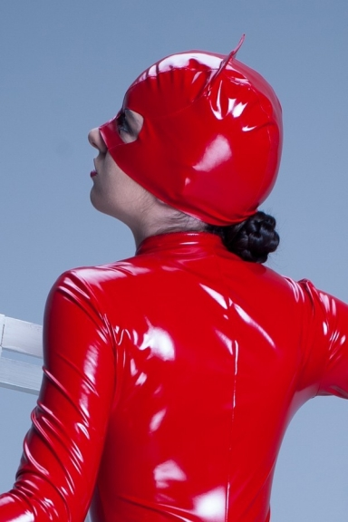 Masque Chat Vinyle Rouge