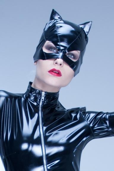 Masque Chat Vinyle Noir