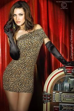 Robe sexy léopard une bretelle