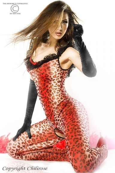 Catsuit léopard rouge - Chilirose
