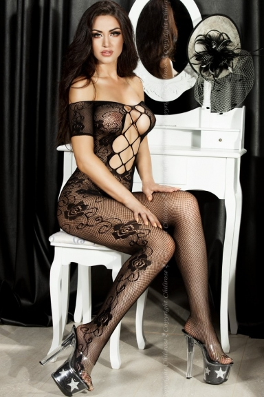 Bodystocking floral décolleté - Chilirose