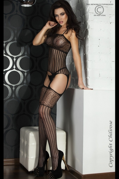Bodystocking ouvert à rayures - Chilirose
