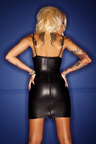 Robe wetlook poitrine transparente - Noir Handmade
