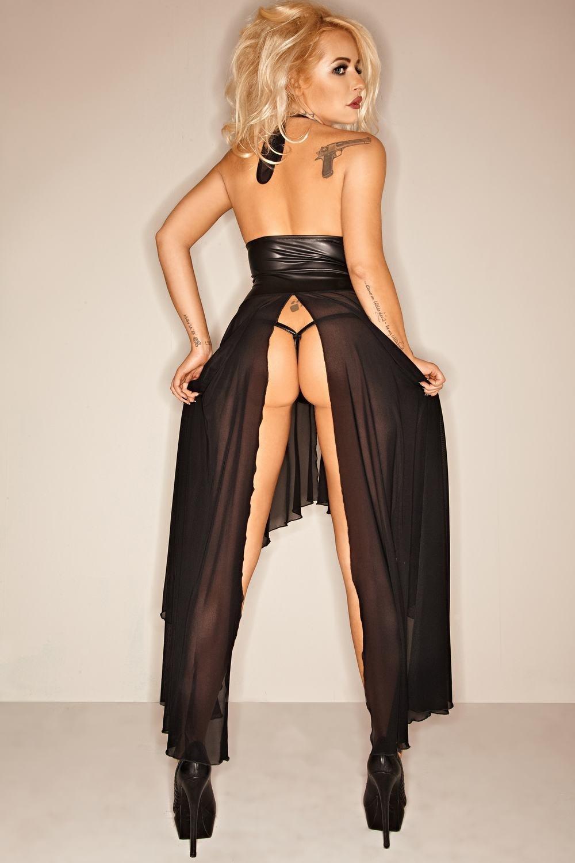 Robe longue serre-taille - Noir Handmade