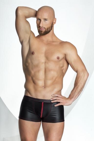 Boxer à zip rouge - Noir Handmade