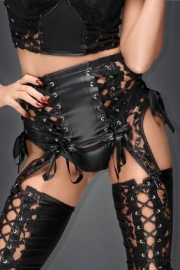 Porte-jarretelles à laçages - Noir Handmade