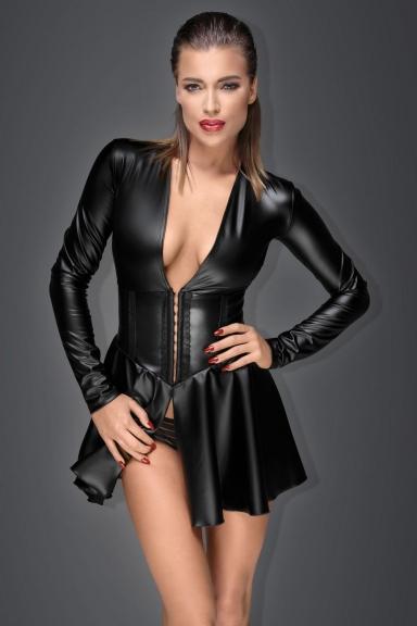 Robe wetlook avec serre-taille - Noir Handmade