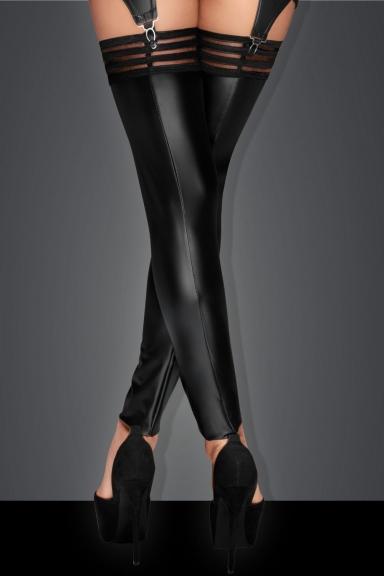 Bas wetlook sans pieds - Noir Handmade