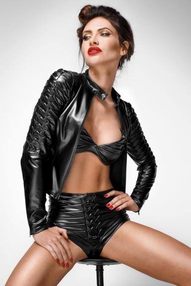 Veste en wetlook à plis - Noir Handmade
