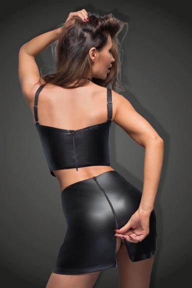 Jupe simili cuir à zips - Noir Handmade
