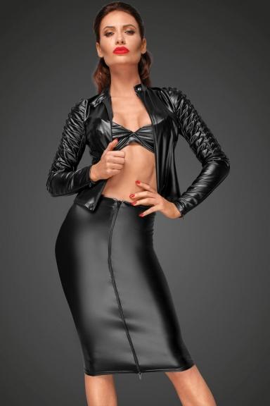Jupe en wetlook à plis - Noir Handmade