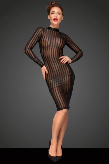 Robe transparente à rayures - Noir Handmade