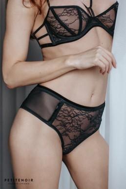 Culotte haute en dentelle - Noir Handmade