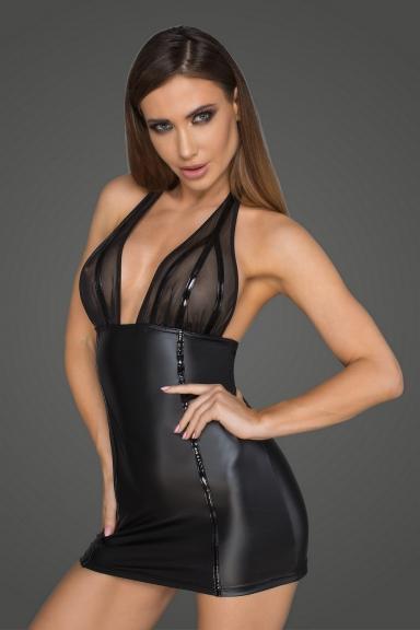 Robe courte poitrine transparente - Noir Handmade