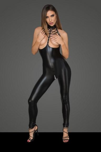 Catsuit seins nus - Noir Handmade