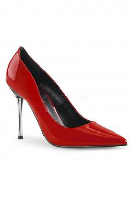 Escarpins rouges talon chrome - Pleaser
