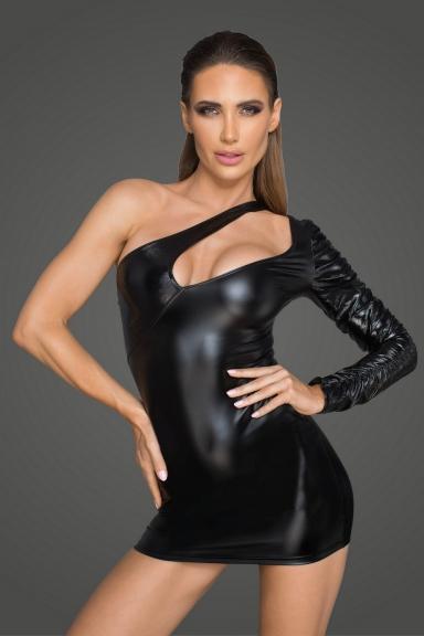Robe asymétrique une manche - Noir Handmade