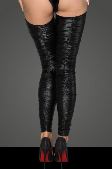 Bas plissé en wetlook - Noir Handmade