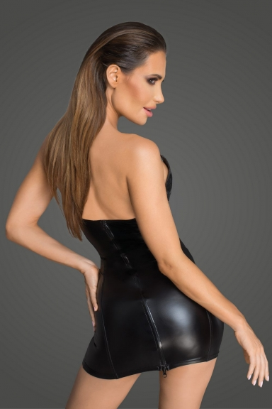 Robe bustier wetlook et simili - Noir Handmade