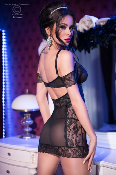 Nuisette glamour épaules nues - Chilirose