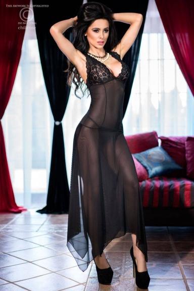 Robe lingerie longue dos en dentelle - Chilirose