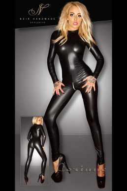 Catsuit wetlook à manches - Noir Handmade