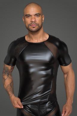 T-shirt wetlook et résille - Noir Handmade