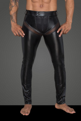 Pantalon wetlook et résille - Noir Handmade