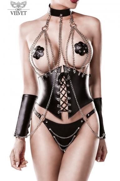 Ensemble 4 pièces avec corset - Grey Velvet