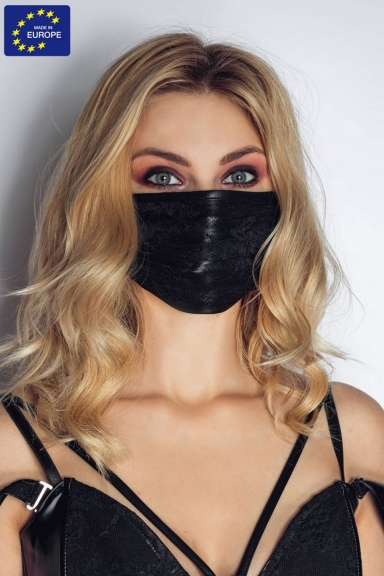 Masque facial wetlook et dentelle - Noir Handmade