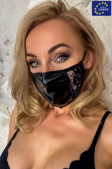Masque facial avec dentelle - Noir Handmade