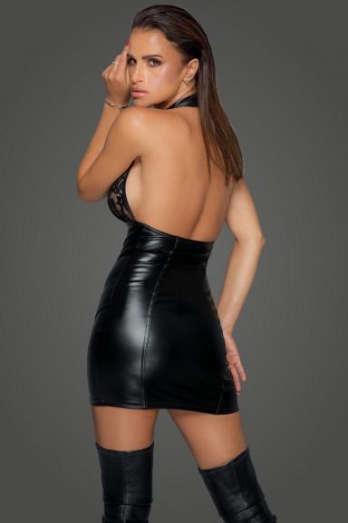 Robe sexy dos-nu à pressions - Noir Handmade