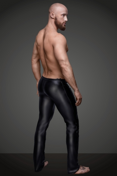 Pantalon wetlook à zip -...