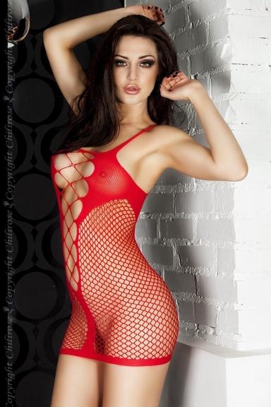 Robe résille rouge décolleté - Chilirose