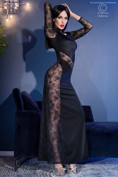 Robe longue avec dentelle -...
