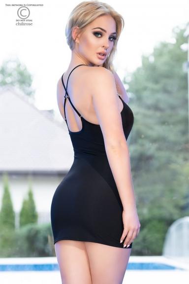 Mini-robe noire avec strass - Chilirose