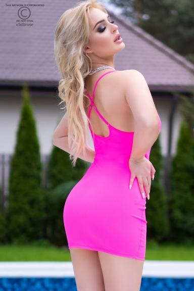 Mini-robe rose fluo avec strass - Chilirose