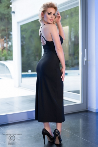 Robe longue noire avec strass - Chilirose