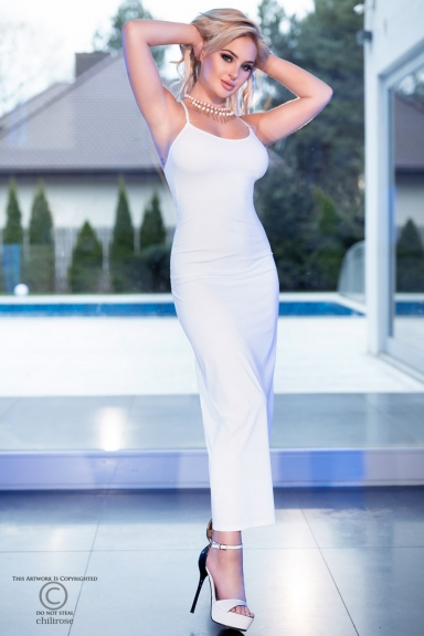 Robe longue blanche avec strass - Chilirose