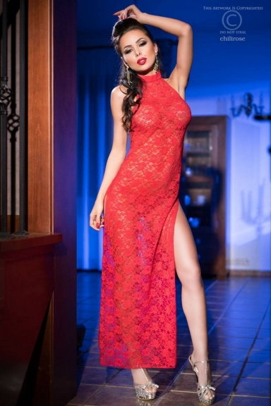 Robe longue fendue dentelle rouge - Chilirose