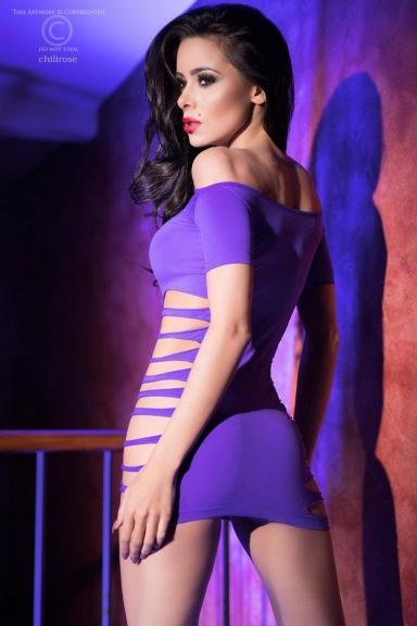 Robe ajourée épaules nues violet - Chilirose