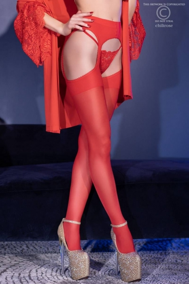 Collant ouvert rouge - Chilirose