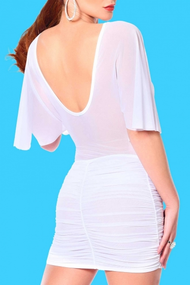 Jupe blanche Turquoise -...