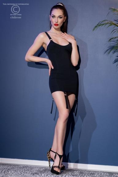 Mini robe noire à jarretelles - Chilirose