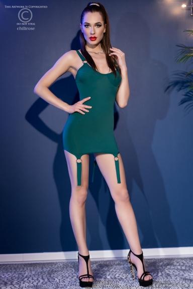 Mini robe verte à jarretelles - Chilirose