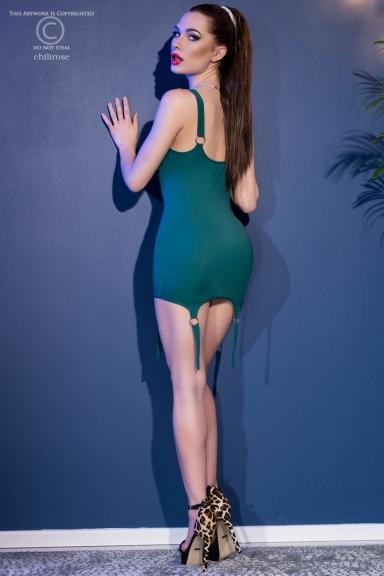 Mini robe verte à...