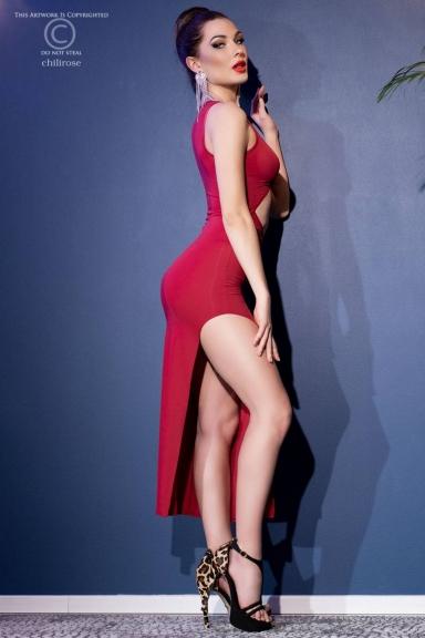 Robe longue rouge à découpes - Chilirose