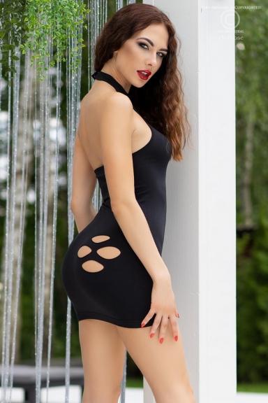 Mini robe noire dos-nu et ajourée - Chilirose