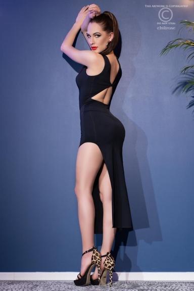 Robe longue élégante fendue noire - Chilirose