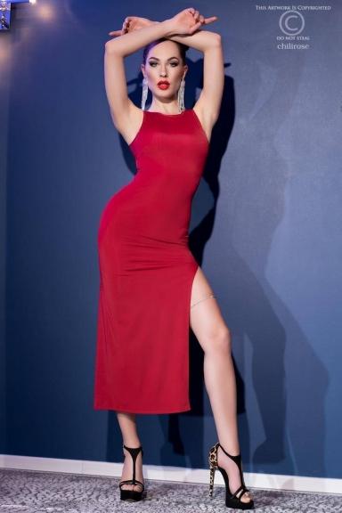 Robe longue élégante fendue rouge - Chilirose